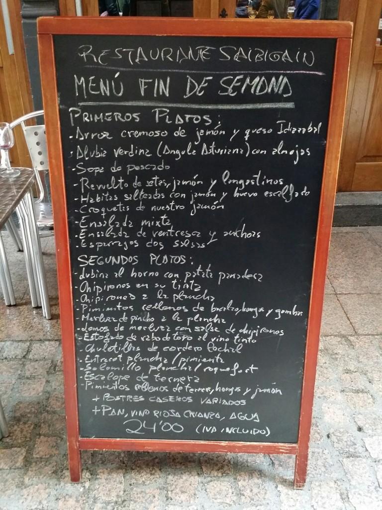 Cartel menu Restaurante Saibigain