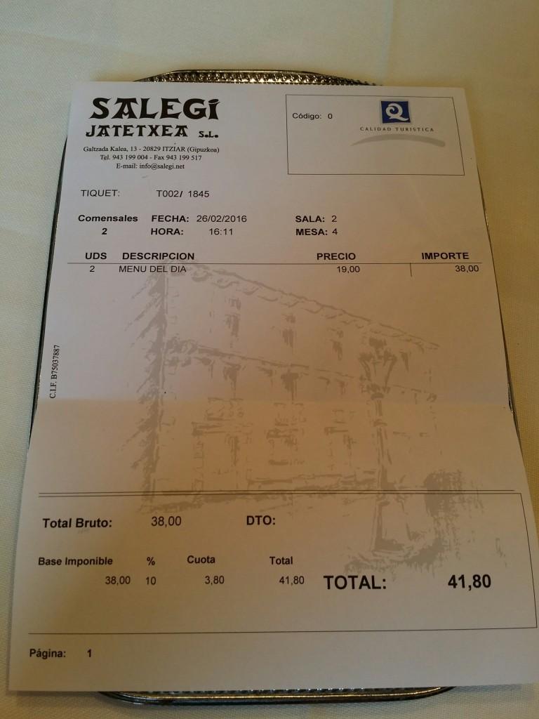 Factura menú del día, Restaurante Salegi