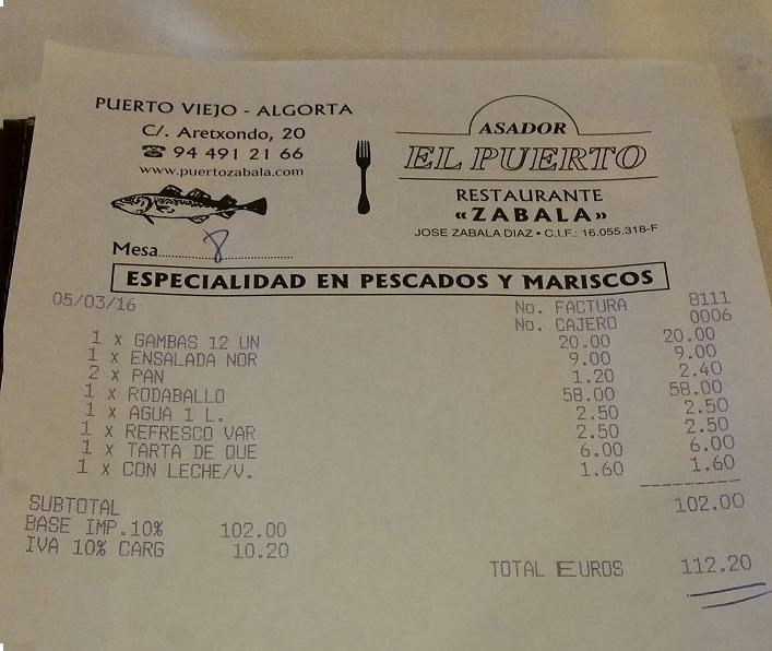 Factura restaurante Puerto Zabala