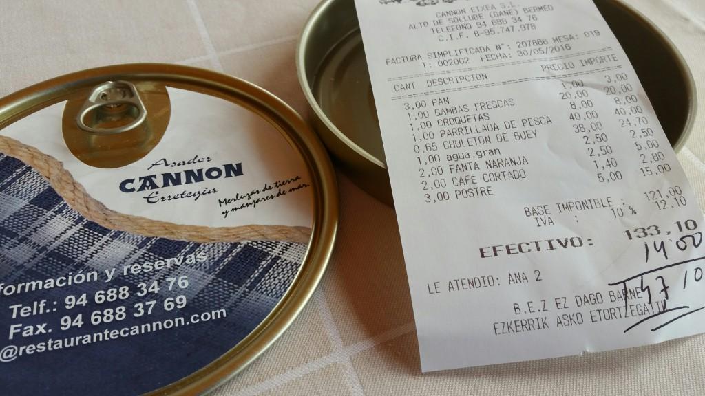 Factura restaurante Cannon