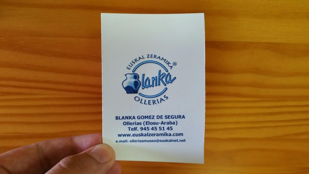 Tarjeta de visita de Blanka, Museo Alfarería Vasca