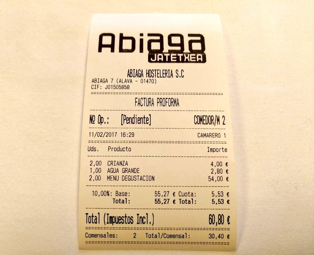 Factura Restaurante Abiaga