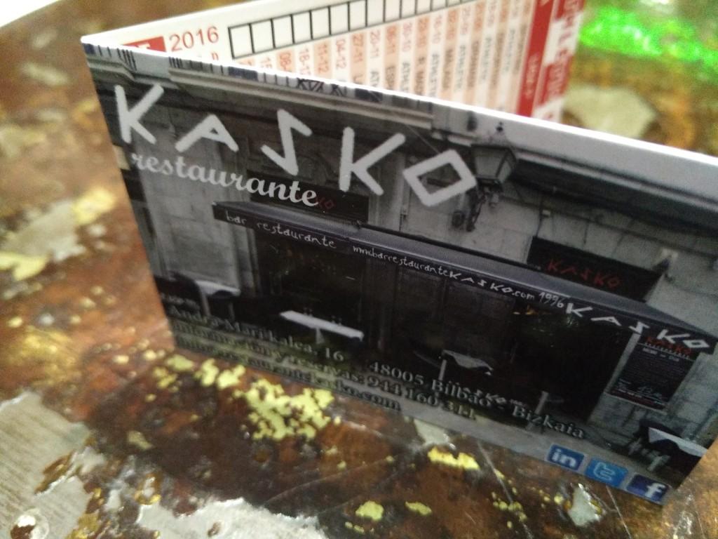 Tarjeta restaurante Kasko