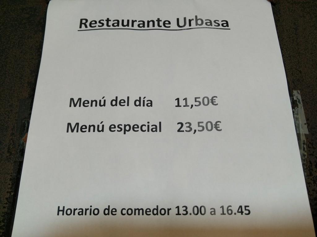 Menú restaurante Urbasa