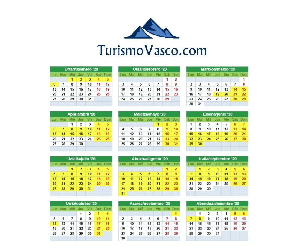 Calendario San Juan de Gaztelugatxe egutegia 2020