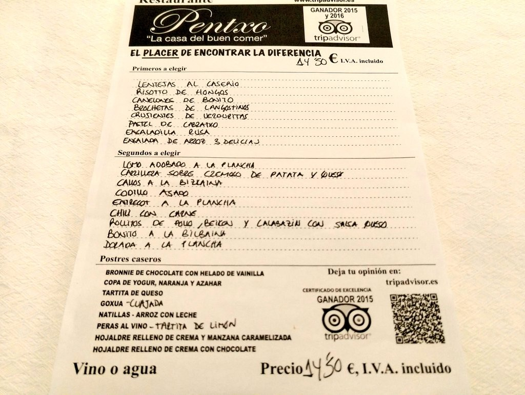 Carta Restaurante Pentxo