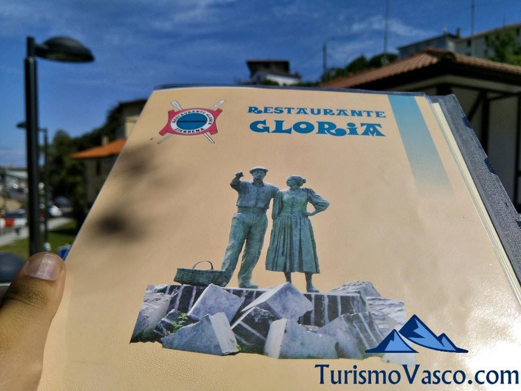 Carta Restaurante Gloria, Zierbena