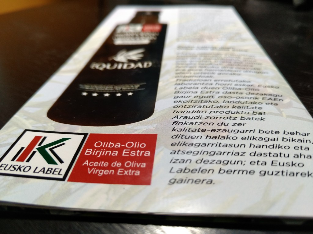 Aceite Equidad Eusko Label