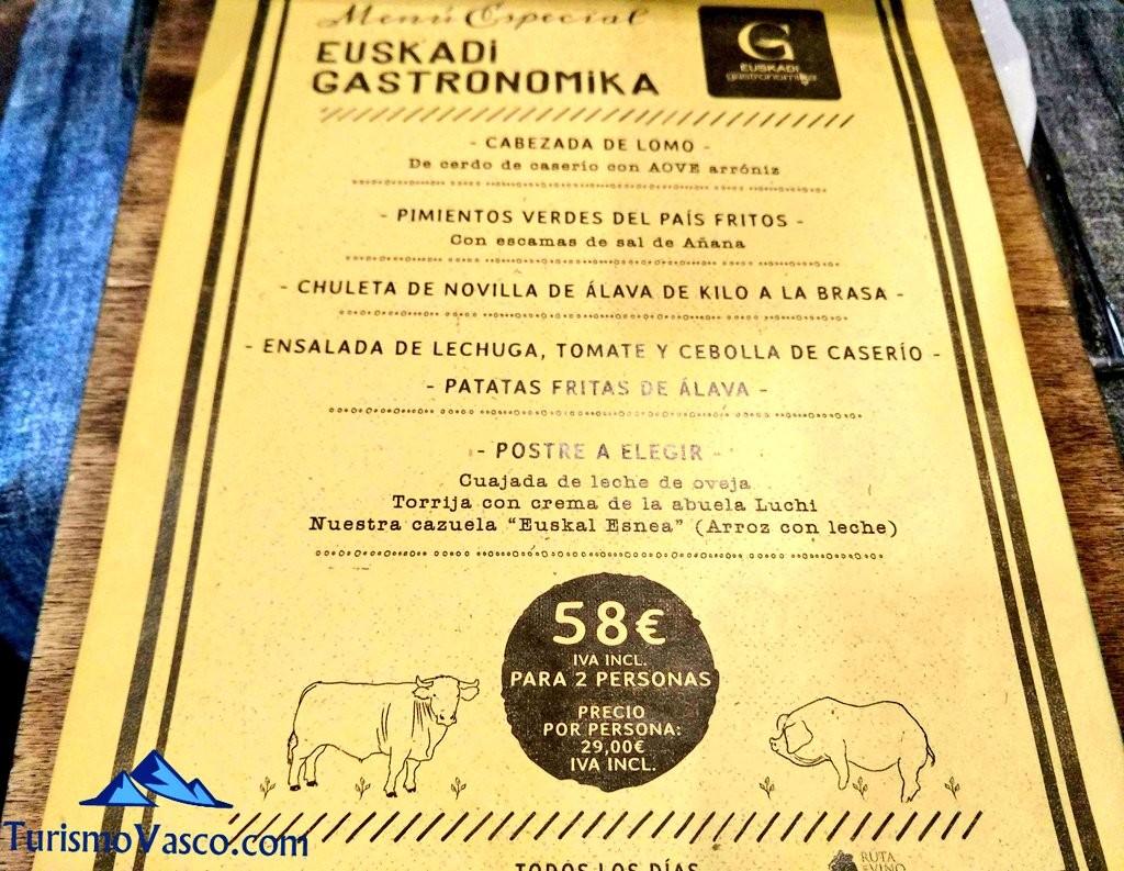 Menú Euskadi Gastronomika Villa Lucia, Laguardia