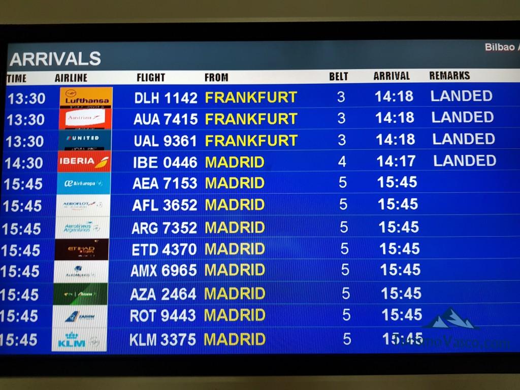 Vuelos en el aeropuerto de Bilbao