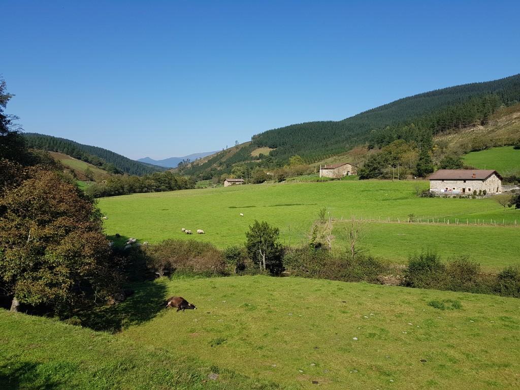 Baserris de Axpe Atxondo desde la vía verde de Arrazola