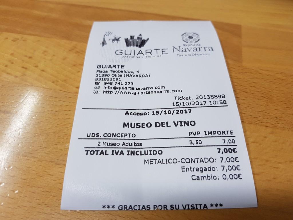 Precio Museo de la Viña y el Vino de Navarra