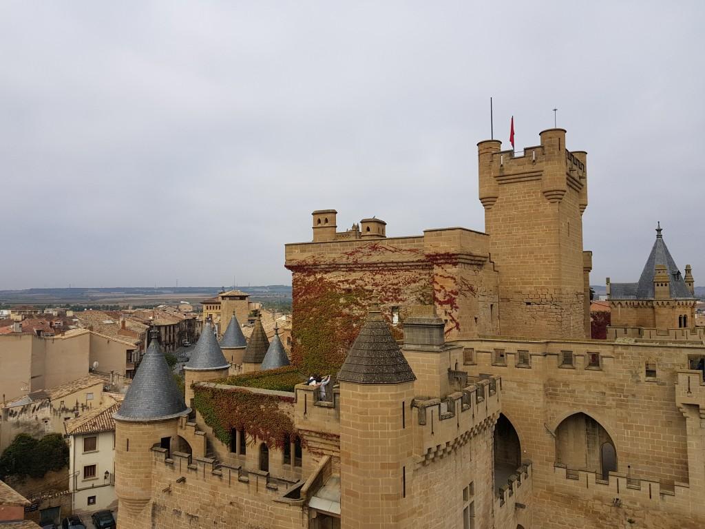 Castillo de Olite con la ciudad de fondo