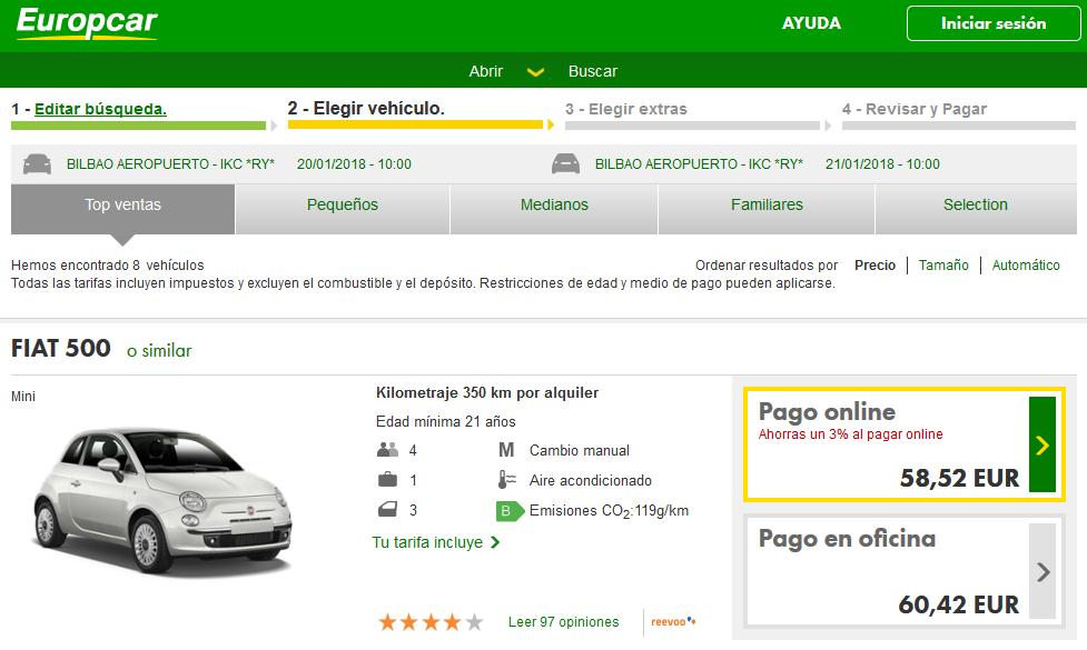 Europcar, alquiler de coche en Euskadi