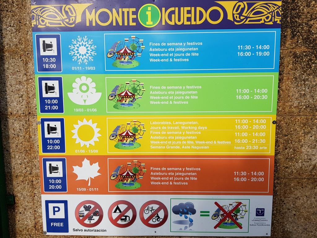 Horario Monte Igeldo