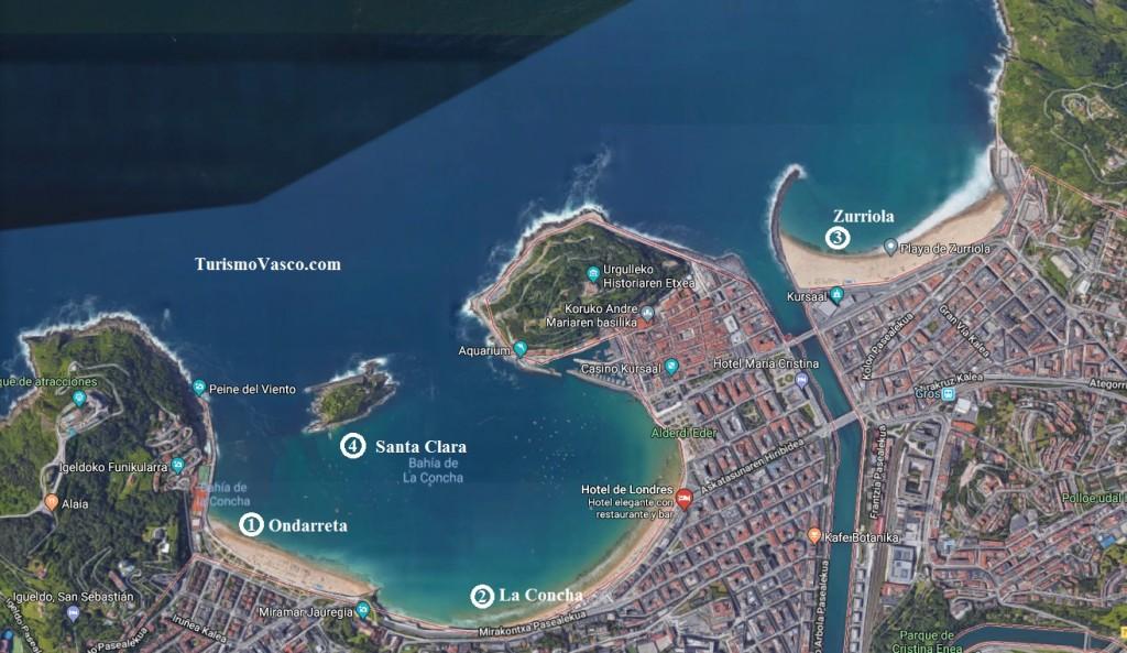 Mapa Playas de Donostia San Sebastián