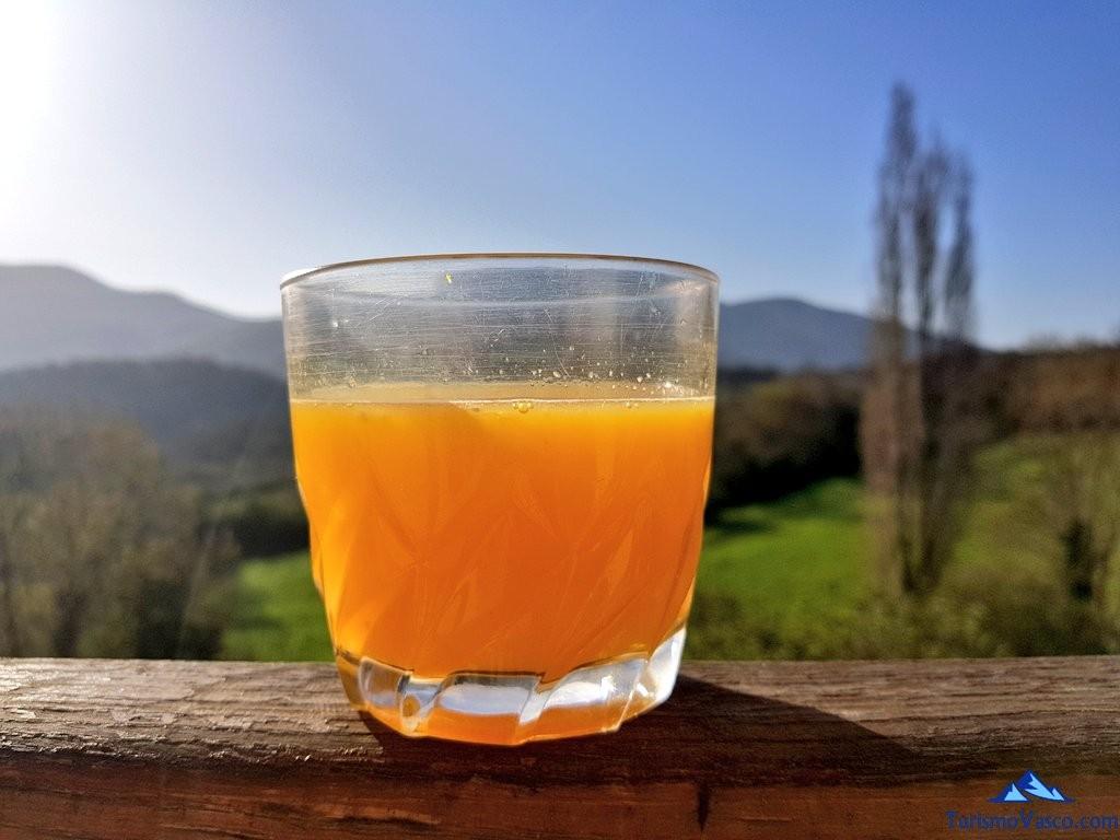 Zumo de naranja natural en el balcon de la Cas rural Monaut, Valle de Arce, Pirineos Navarros