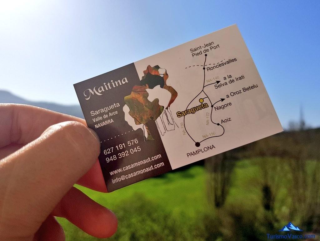 Tarjeta Maitina, casa rural Monaut, valle de arce, pirineo navarro