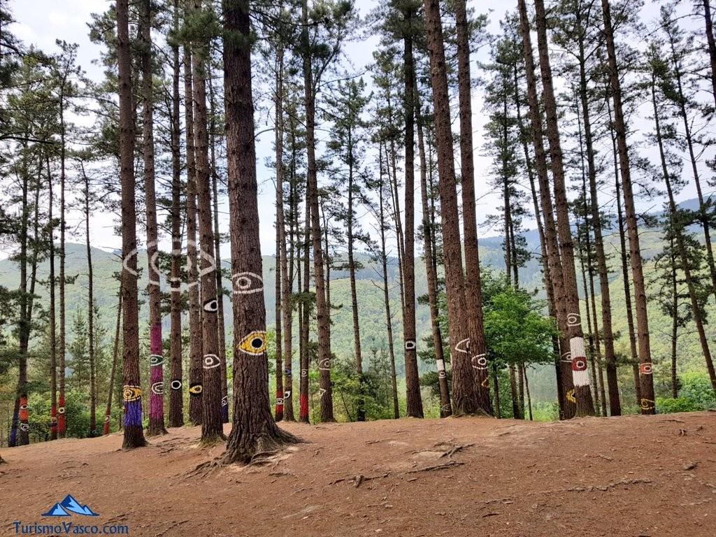 Ojos en el bosque de oma, el bosque pintado