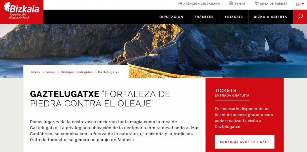 Página web de entradas para San Juan de Gaztelugatxe