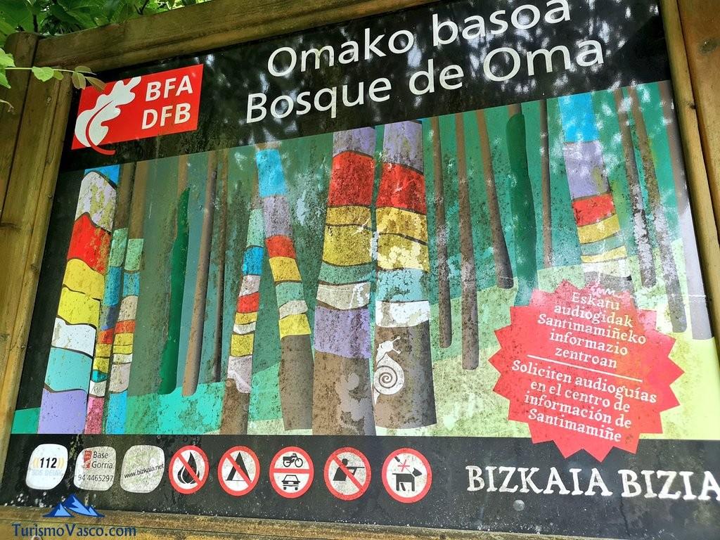 Panel informativo del Bosque de Oma, el Bosque Pintado