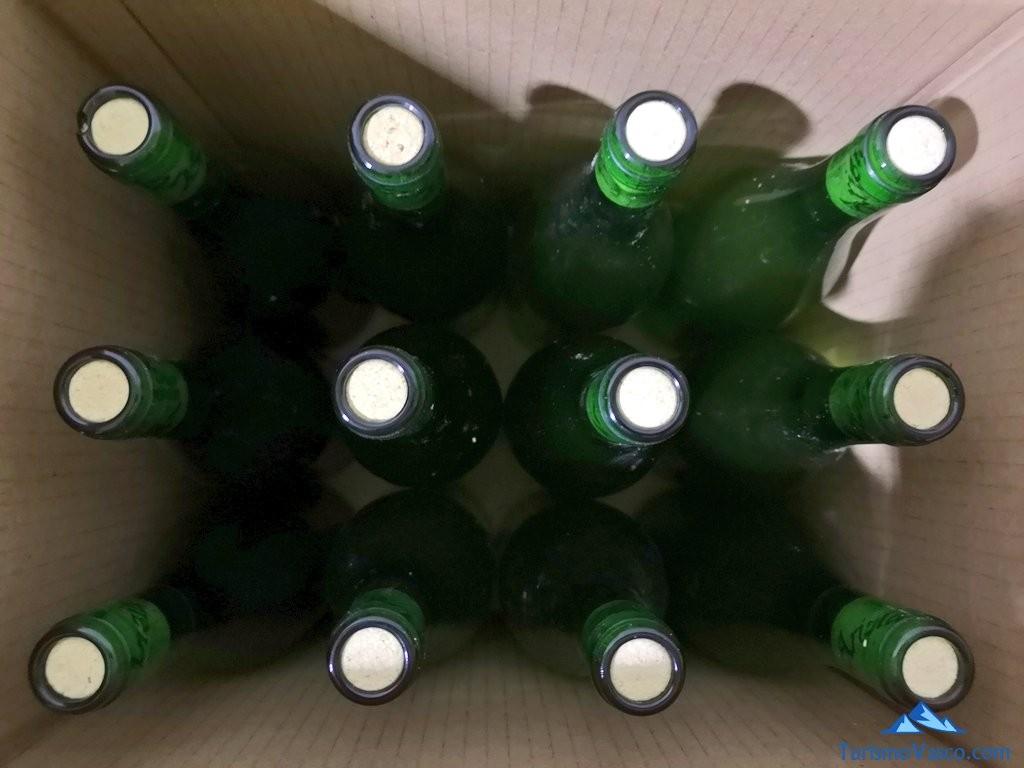 caja de botellas de la Sidreria Arizia Zarautz