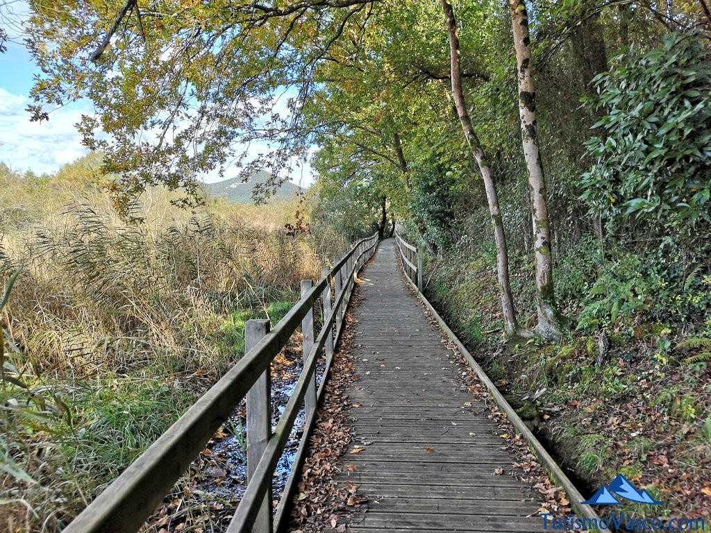 pasarela junto al agua, ruta Urdaibai Gernika Kortezubi