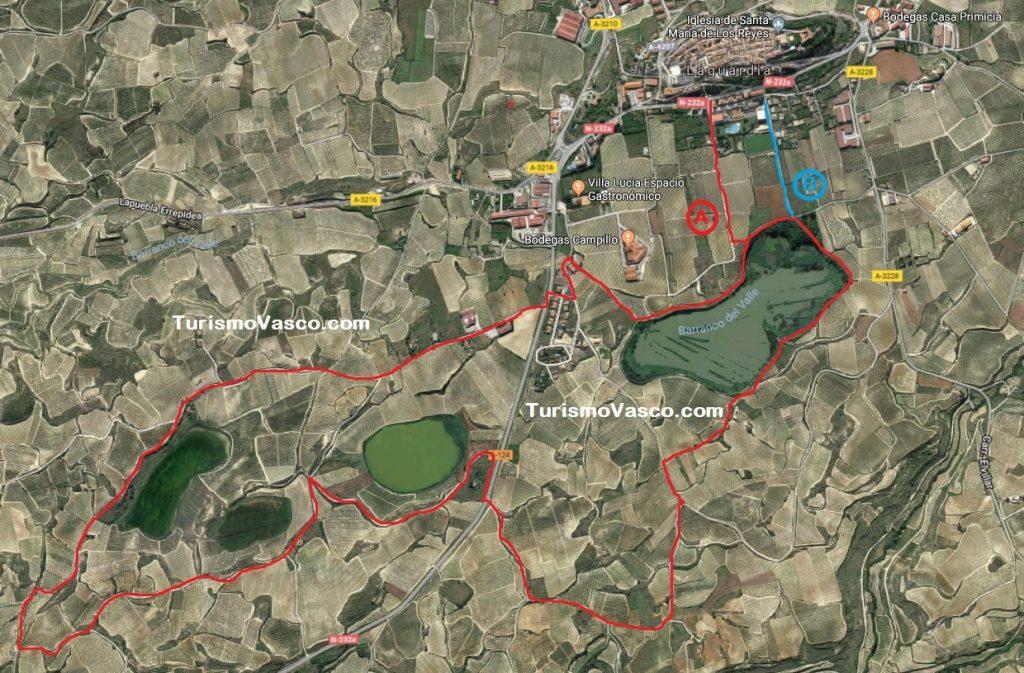 Ruta por las lagunas de Laguardia mapa