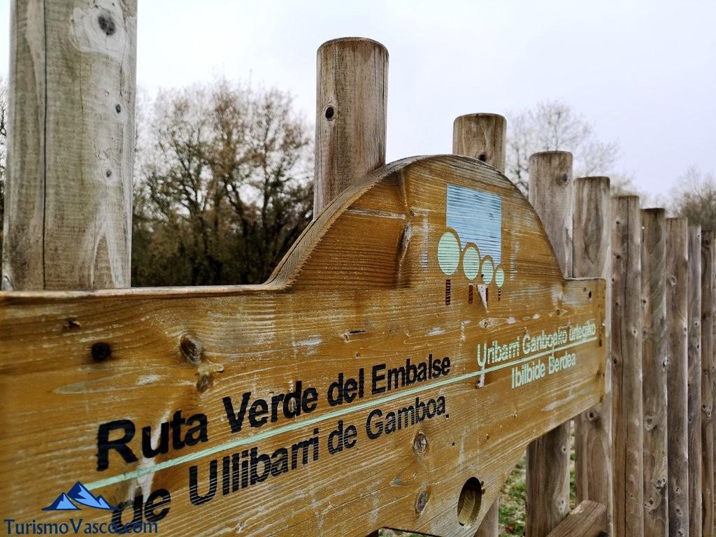 Señal Ruta verde del embalse de Ullibarri Gamboa