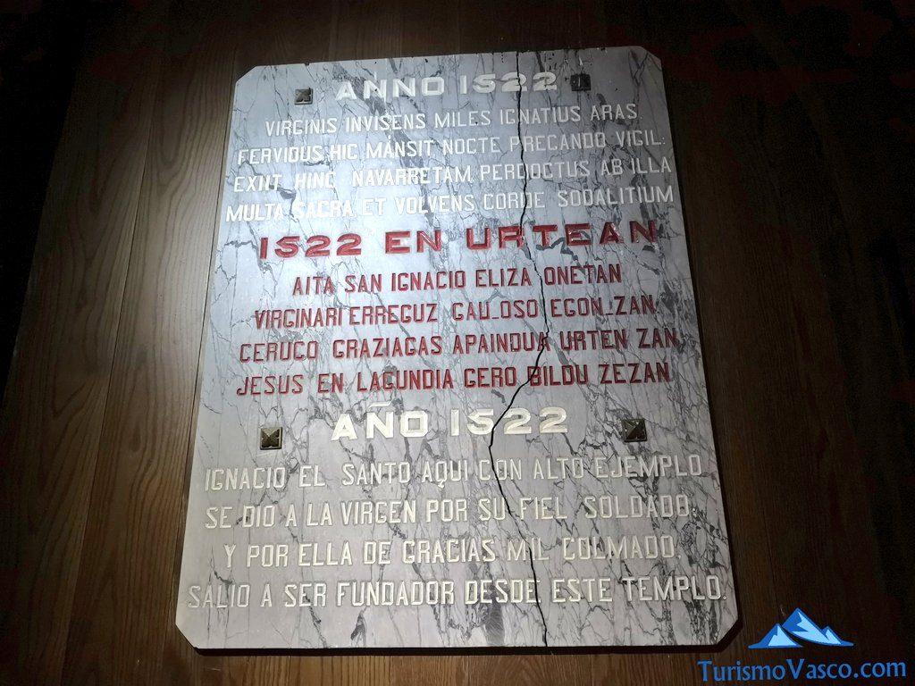 placa cripta del Santuario de Arantzazu