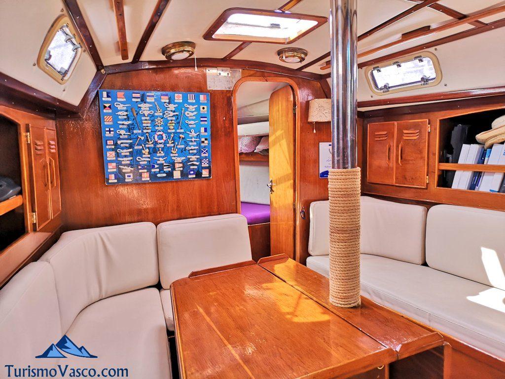 interior, ruta en velero en Getxo
