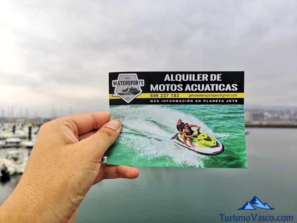 folleto, alquiler de motos de agua en Bilbao