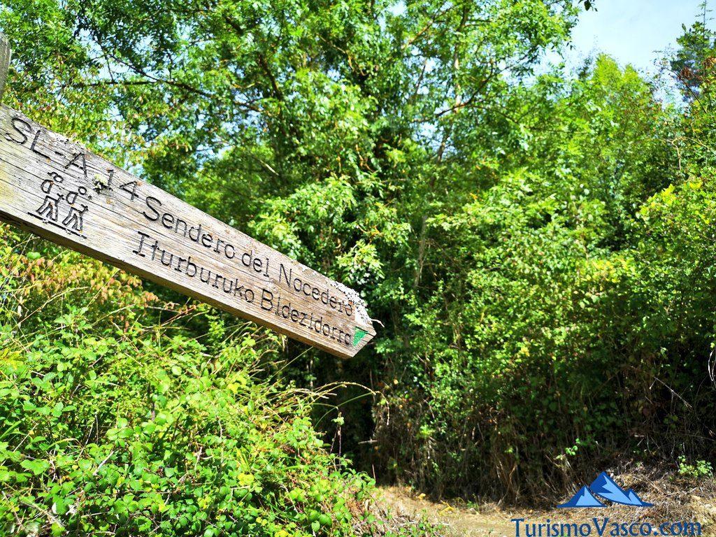 señal madera, Nacedero del río Zirauntza