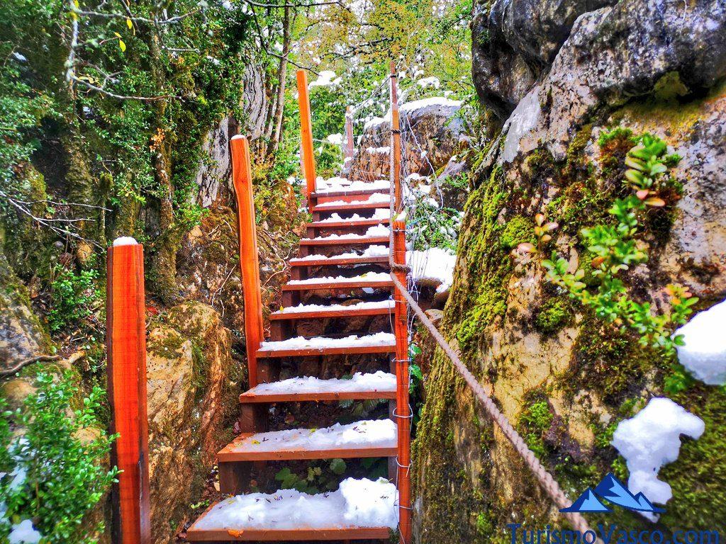 escaleras, Cabañas en los árboles en el Pirineo Navarro