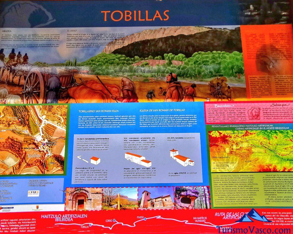 panel informativo de las cuevas de tobillas, cuevas de Valdegovía