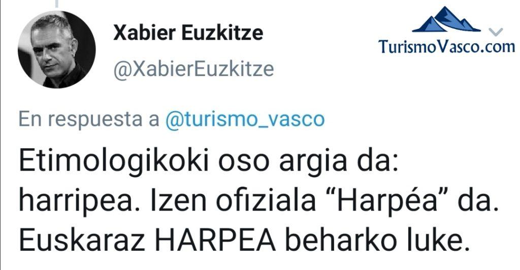 Cueva de Harpea o Arpea, nombre, explicacion
