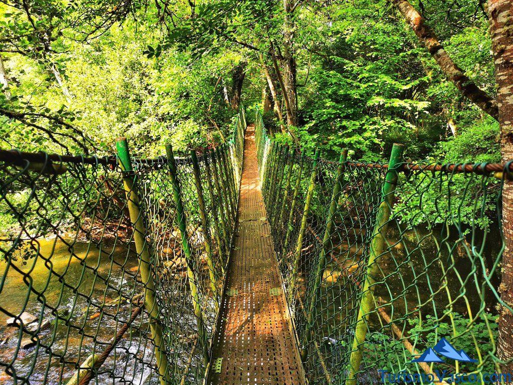 puente colgante desde dentro, ruta río Baia La Encontrada Lukiano