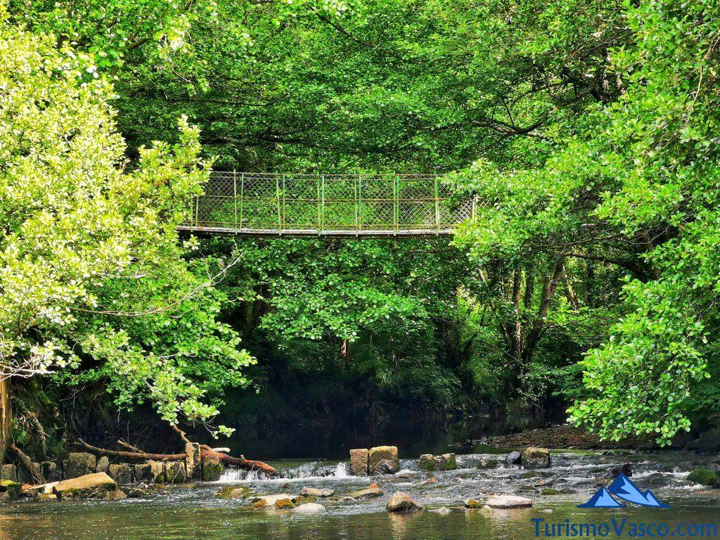 puente colgante desde el rio baia, ruta río Baia La Encontrada Lukiano