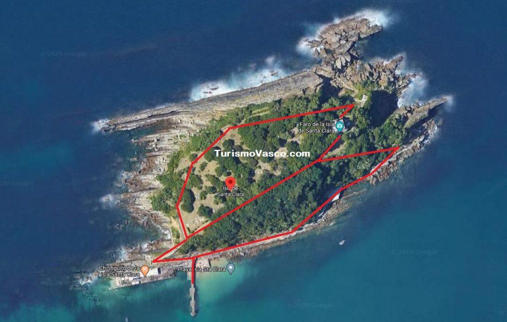 Rutas isla santa clara, isla de Donostia San Sebastián