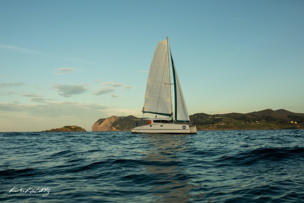 catamaran bay of biscay sailing, nadar con tiburones en euskadi