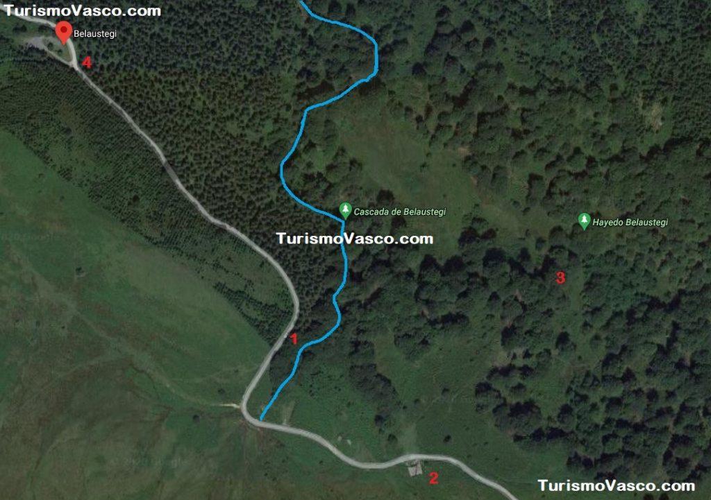 Mapa Belaustegi, hayedo y cascada, Cascada de Belaustegi hayedo Orozko