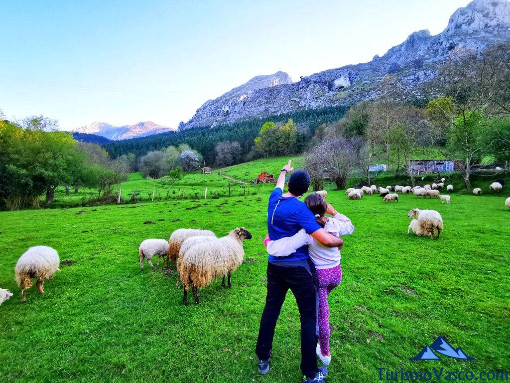 contemplando parque natural de urkiola, pastor por un día en Euskadi