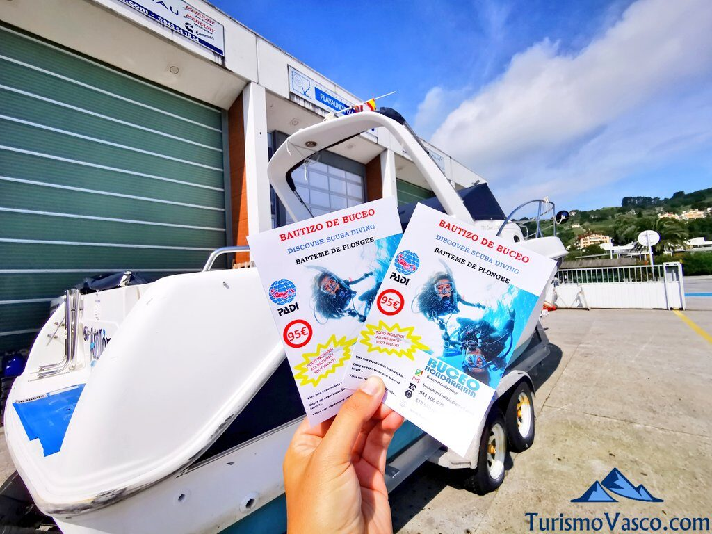 folletos de buceo, buceo en Hondarribia
