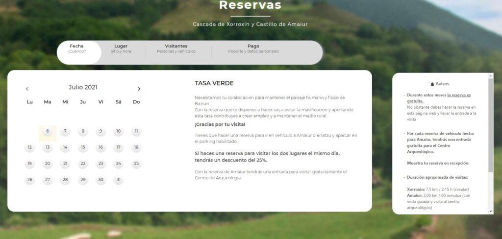 Reservas cascada Xorroxin, reservar aparcamiento cascada de Xorroxin, Erratzu, Valle de Baztan