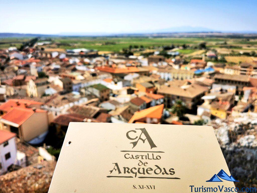 panel informativo del castillo de arguedas, qué ver en Arguedas